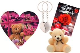 Skylofts Cute 5pc Chocolate Birthday Heart Gift Box with teddy, love card & magnetic heart key ring