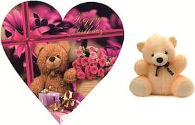 Skylofts Cute 5pc Chocolate Birthday Heart Gift Box with a cute teddy\