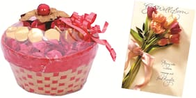 Skylofts Lovely Chocolate Basket with get well soon card