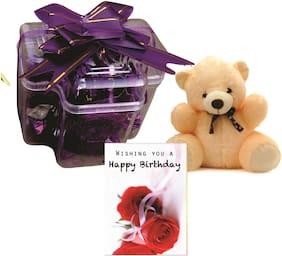 Skylofts Stylish Chocolate Box with A cute Teddy & musical birthday card ( 9pcs)