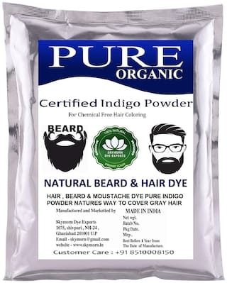 SkyMorn Indigo Powder For Beard & Hair Dye - Black (400 Grams)