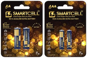 Smartcell 1.5V AA & AAA Non-Rechargeable Alkaline Premium Series Battery - Combo Set of 2