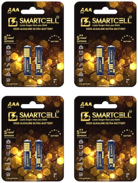 Smartcell 1.5V AAA Non-Rechargeable Alkaline Premium Series Battery Pack of 4 (2 Batteries x 4)