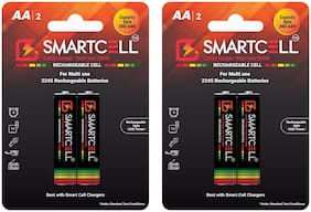 Smartcell AA Ni-MH Rechargeable Battery 800mAH Pack of 2 ( 2 Batteries x 2 )