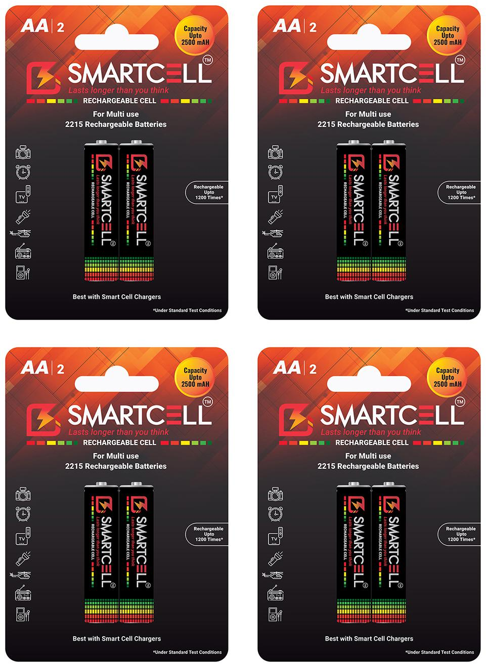 Smartcell AA Ni MH Rechargeable Battery 2500mAH Pack of 4   2 Batteries x 4   by Futuristic IDC