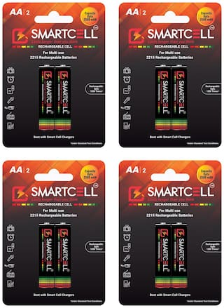 Smartcell AA Ni-MH Rechargeable Battery 2500mAH Pack of 4 ( 2 Batteries x 4 )