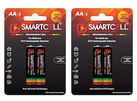 Smartcell AA Ni-MH Rechargeable Battery 2500mAH Pack of 2 ( 2 Batteries x 2 )