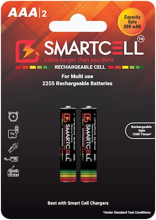 Smartcell AAA Ni-MH Rechargeable Batteries 800mAH - Pack of 2