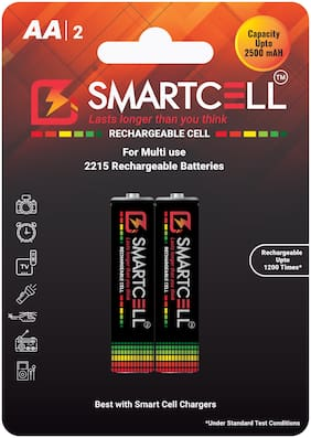 Smartcell AA Ni-MH Rechargeable Batteries 2500mAH - Pack of 2