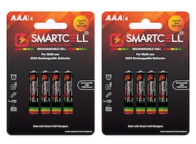 Smartcell AAA Ni-MH Rechargeable Battery 800mAH Pack of 8