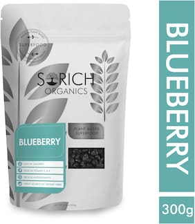 SorichOrganics Naturally Dried Blueberries - 300 g (Unsulphured, Unsweetened and Naturally Dehydrated Fruits)