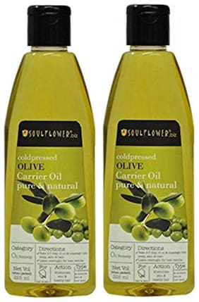 Soulflower Coldpressed Olive Carrier Oil 225 ml (Pack of 2)