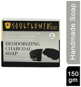 Soulflower Deodorizing Charcoal Soap 150 gm