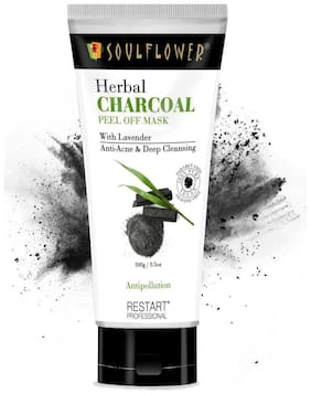 Soulflower Herbal Charcoal Peel Off Mask with Lavender- Anti-Acne & Deep Cleansing 100g