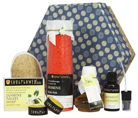 Soulflower Jasmine Hexagon Bath Giftset