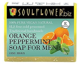 Soulflower Orange Peppermint Soap For Men 150 gm