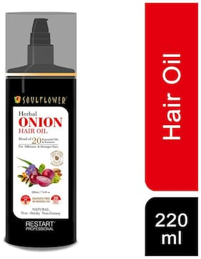 Soulflower Onion Herbal Hair Growth Oil Blend of 20 Essential Oils & Natural Extracts 220ml
