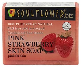 Soulflower Pink Strawberry Skin Soap 150 gm