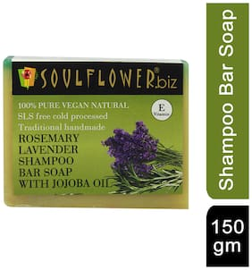 Soulflower Rosemary Lavender Shampoo Bar Soap With Jojoba Oil 150 g