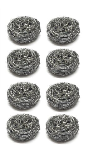 Sparkling Bright Stainless Steel Scrubber - Rust Free Scrub Pads - Magnetic Grade - High Corrosion Resistance - Scrub Pad - 8 Pcs