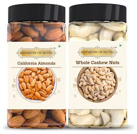 MINISTRY OF NUTS Special Pack of 2, California Almonds - 150g, Whole Cashew Nuts - 125g