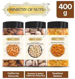 MINISTRY OF NUTS Special Pack of 3 California Almonds - 150g, Roasted & Salted Caifornia Pistachios- 100g, Seedless Raisins- 150g