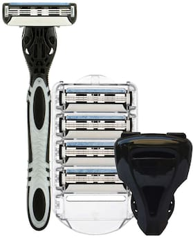 Spruce Shave Club 3X Shaving Razor Kit | 3 Blade Razor, 4 Cartridges, Razor Cover