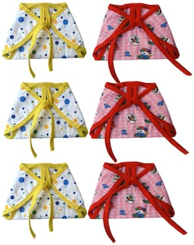 SRIM Cotton Cloth Nappy with Double Layer Fabric - Langot for New Born - 6 pcs Red, Yellow (Pack of 6)