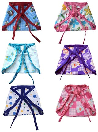 Srim Double Layer Cotton Nappy -Multi Color Pack of 1 (Set of 6 pcs cloth diapers)