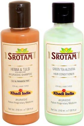 Srotam Heena & Tulsi Shampoo SLS-Paraben Free 210 ml + Green Tea Aloevera Conditioner 210 ml