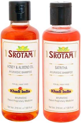 SROTAM Honey & Almond Oil Shampoo AND Satritha Shampoo- ( Set of 2 Bottle Each 210 ml)