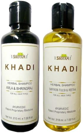 Srotam KHADI HERBAL AmlA & BHRINGRAJ AND SAFFRON TULSI & REETHA SHAMPOO 210 ml( Pack of 2)