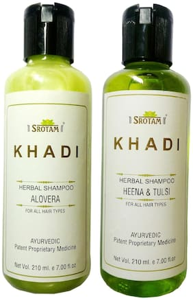 Srotam Khadi Herbal Aloevera and Henna & Tulsi Shampoo 210 ml( Pack of 2)