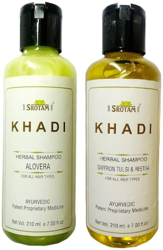 Srotam Khadi Herbal Aloevera and Saffron tulsi&Reetha Shampoo 210 ml( Pack of 2)
