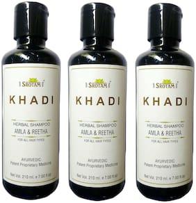 Srotam KHADI HERBAL AmlA & REETHA SHAMPOO 210 ml( Pack of 3)