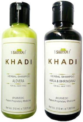 Srotam Khadi Herbal Aloevera and Amla&Bhirngraj Shampoo 210 ml( Pack of 2)