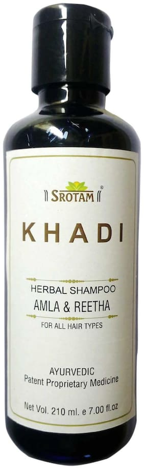 Srotam KHADI HERBAL AmlA & REETHA SHAMPOO 210 ml( Set of 1 Bottles)