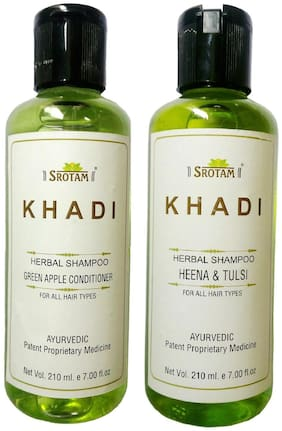 Srotam Khadi Herbal Green Apple Conditioner And Heena & Tulsi Shampoo 210 ml (Pack Of 2)