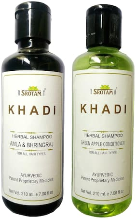 Srotam Khadi Herbal Amla & Bhirngraj and Green Apple Conditioner Shampoo 210 ml( Pack of 2)
