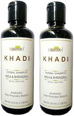 Srotam Khadi Herbal Amla & Bhirngraj Shampoo 210 ml( Pack of 2)