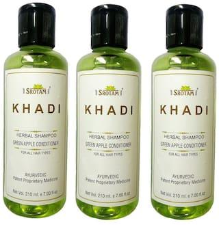 Srotam Khadi Herbal Green Apple Conditioner Shampoo 210 ml (Pack Of 3)