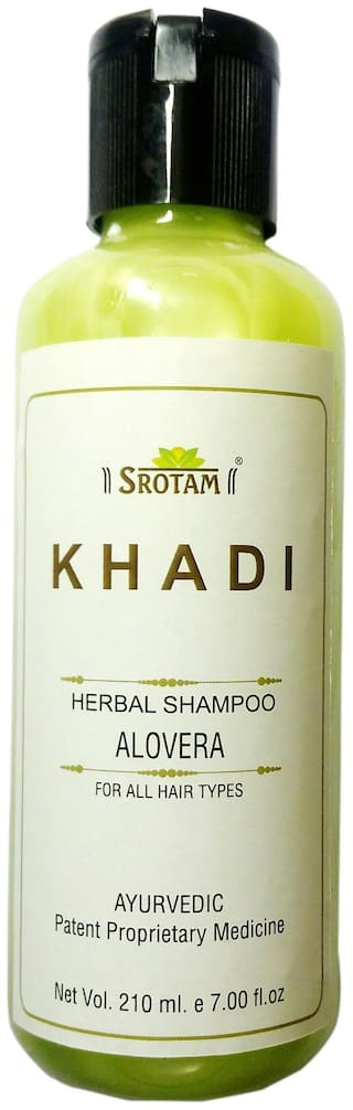 Srotam Khadi Herbal Aloevera Shampoo 210 ml ( Set of 1 Bottle)