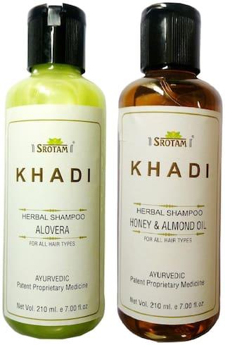 Srotam Khadi Herbal Aloevera and Honey & Almond oil Shampoo 210 ml( Pack of 2)