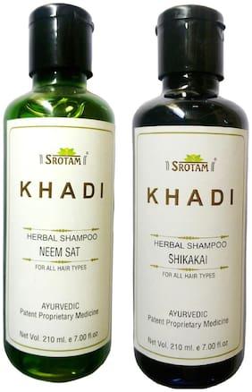 Srotam Khadi Herbal Neem Sat And Shikakai Shampoo 210 ml( Pack Of 2 )