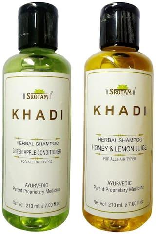 Srotam Khadi Herbal Green Apple Conditioner And Honey & Lemon Juice Shampoo 210 ml (Pack Of 2)