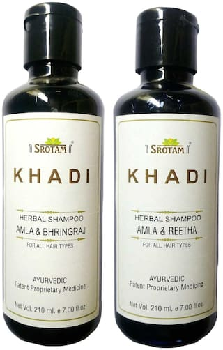 Srotam Khadi Herbal Amla & Bhirngraj and Amla & Reetha Shampoo 210 ml( Pack of 2)