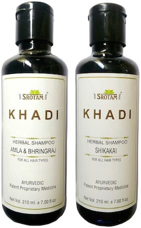 Srotam KHADI HERBAL AmlA & BHRINGRAJ AND SHIKAKAI SHAMPOO 210 ml( Pack of 2)