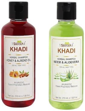 Srotam Khadi Honey & Almond oil and Neem Alovera Shampoo 210ml (Pack of 2)