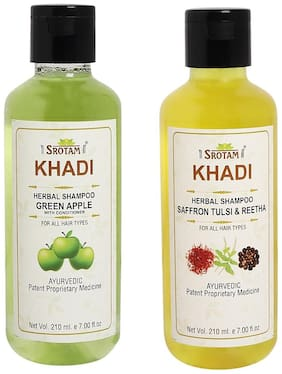Srotam Khadi Green Apple with conditioner and Saffron Tulsi Reetha Shampoo 210ml (Pack of 2)