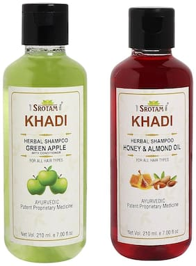 Srotam Khadi Green Apple with conditioner and Honey Almond Oil Shampoo 210ml (Pack of 2)